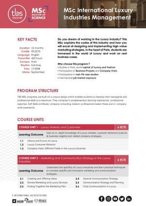 Tbs Education Msc International Luxury Industries Management Program Outline