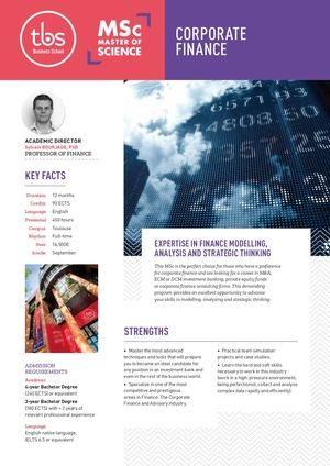Tbs Msc Corporate Finance And Advisory
