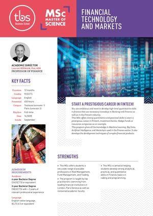 Tbs Msc Financial Technology And Markets